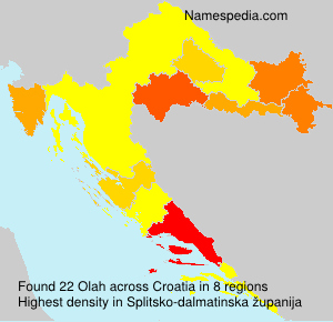 Surname Olah in Croatia