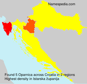 Familiennamen Oparnica - Croatia