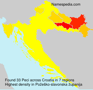 Surname Peci in Croatia