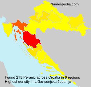 Surname Peranic in Croatia