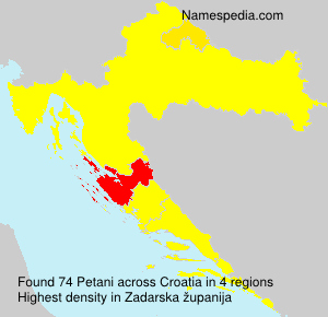 Surname Petani in Croatia