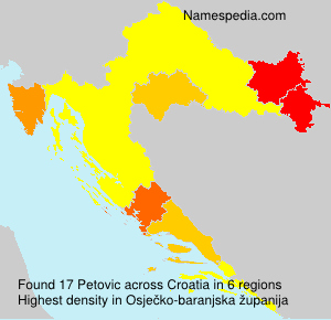 Surname Petovic in Croatia
