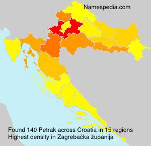 Surname Petrak in Croatia