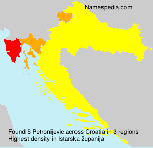 Surname Petronijevic in Croatia
