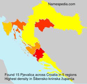 Surname Pjevalica in Croatia