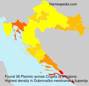 Surname Planinic in Croatia