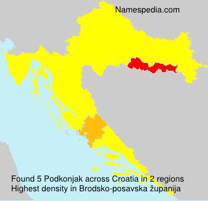 Surname Podkonjak in Croatia