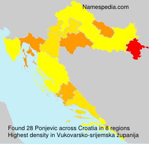 Familiennamen Ponjevic - Croatia