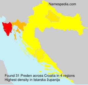 Familiennamen Preden - Croatia