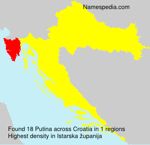 Surname Putina in Croatia