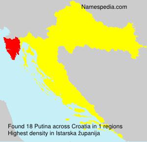 Surname Putina in Croatia