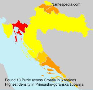 Surname Puzic in Croatia