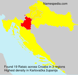 Surname Rataic in Croatia