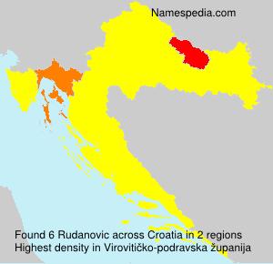 Surname Rudanovic in Croatia