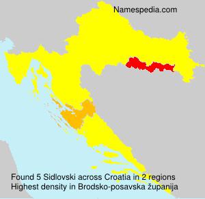 Surname Sidlovski in Croatia