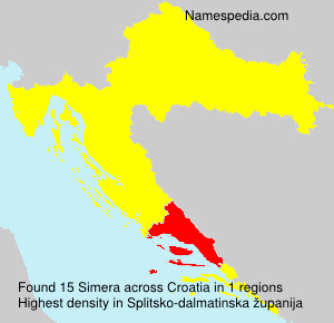 Surname Simera in Croatia
