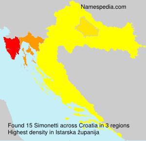 Surname Simonetti in Croatia