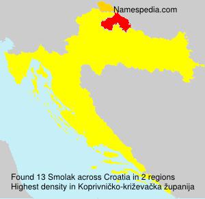 Surname Smolak in Croatia