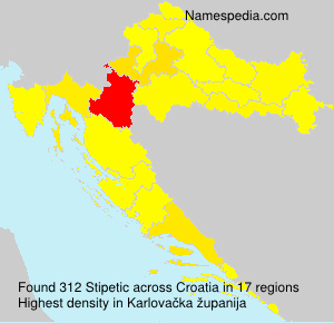 Surname Stipetic in Croatia