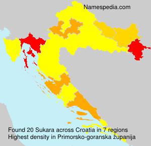Surname Sukara in Croatia