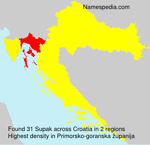 Surname Supak in Croatia