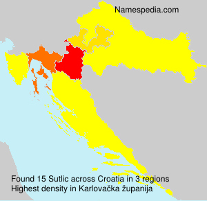 Surname Sutlic in Croatia