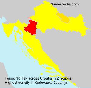 Surname Tek in Croatia