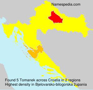 Surname Tomanek in Croatia