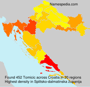Surname Tomicic in Croatia