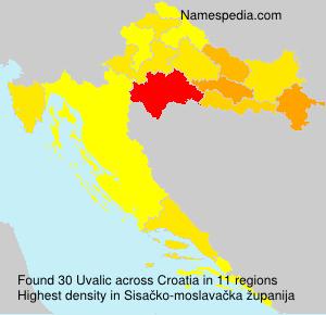 Surname Uvalic in Croatia