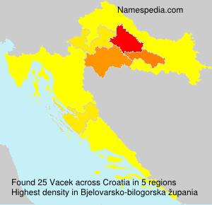 Surname Vacek in Croatia