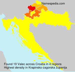 Surname Valec in Croatia