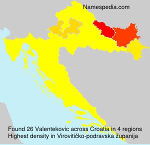 Surname Valentekovic in Croatia