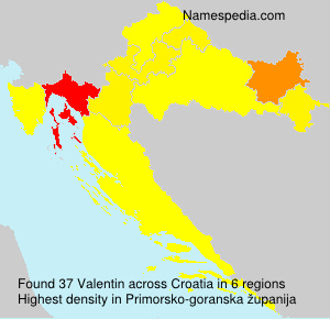 Surname Valentin in Croatia