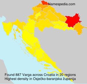 Surname Varga in Croatia