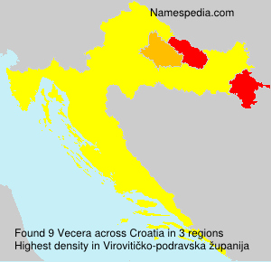 Surname Vecera in Croatia
