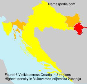 Surname Velikic in Croatia