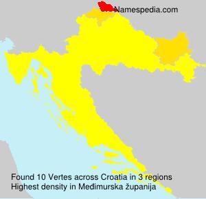Surname Vertes in Croatia