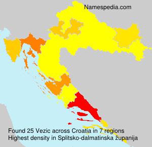 Surname Vezic in Croatia