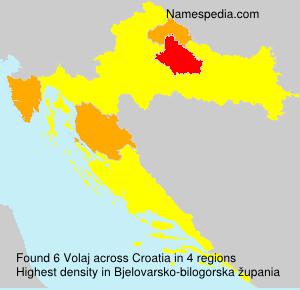 Surname Volaj in Croatia