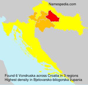 Surname Vondruska in Croatia