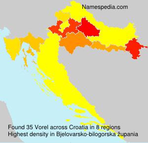 Surname Vorel in Croatia