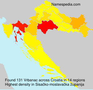 Surname Vrbanac in Croatia