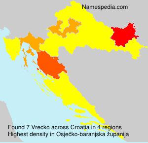 Surname Vrecko in Croatia