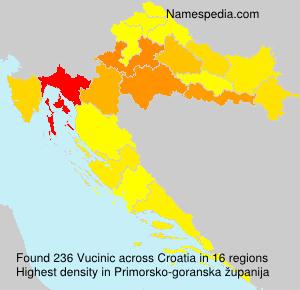 Surname Vucinic in Croatia