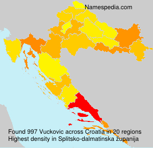 Surname Vuckovic in Croatia