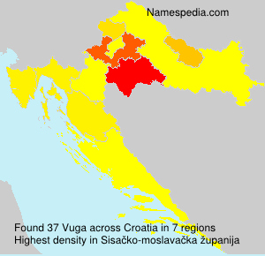 Surname Vuga in Croatia