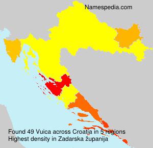 Surname Vuica in Croatia
