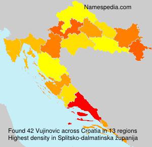 Surname Vujinovic in Croatia
