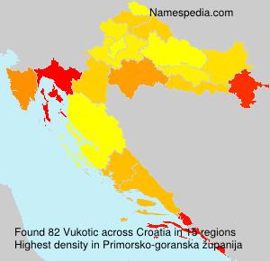 Surname Vukotic in Croatia